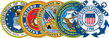 Crests for the U.S. Military Branches, including Air Force, Marines, Army, Navy, and Coast Guard.